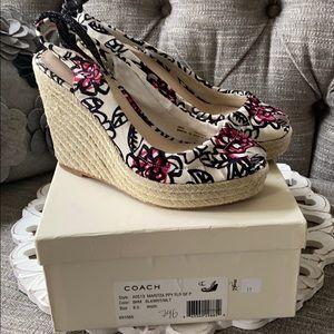 Coach Maritza Wedge Heels Peep Tor Shoes 8